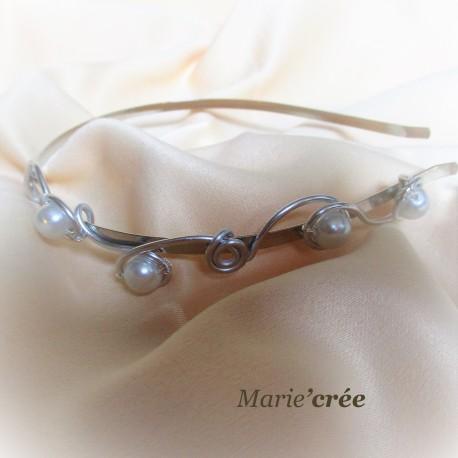 serre tete fantaisie aluminium perle