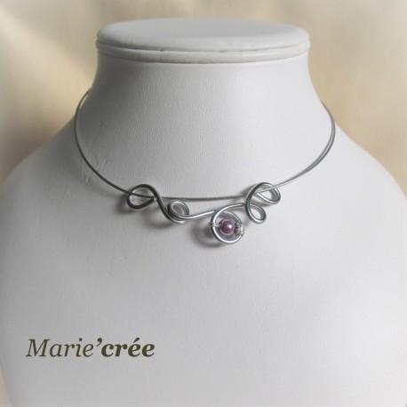 collier fantaisie aluminium perle fillette