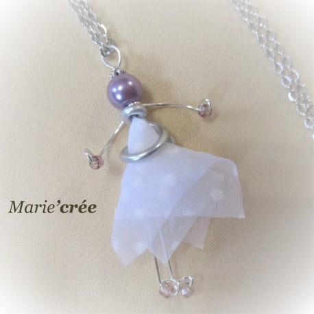 sautoir fantaisie aluminium perle poupee