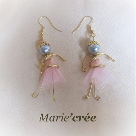 boucle oreille fantaisie perle poupee