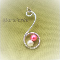pendentif fantaisie aluminium perle