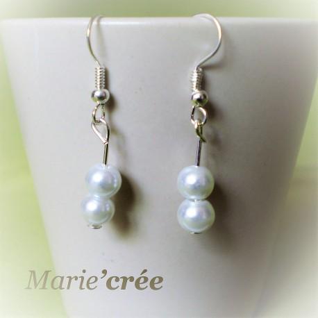 boucle oreille fantaisie perle mariee